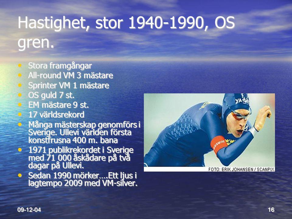Hastighet, stor 1940-1990, OS gren.