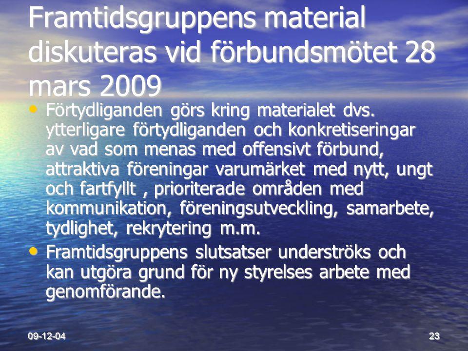 Framtidsgruppens material diskuteras vid förbundsmötet 28 mars 2009