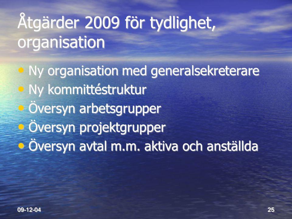 Åtgärder 2009 för tydlighet, organisation