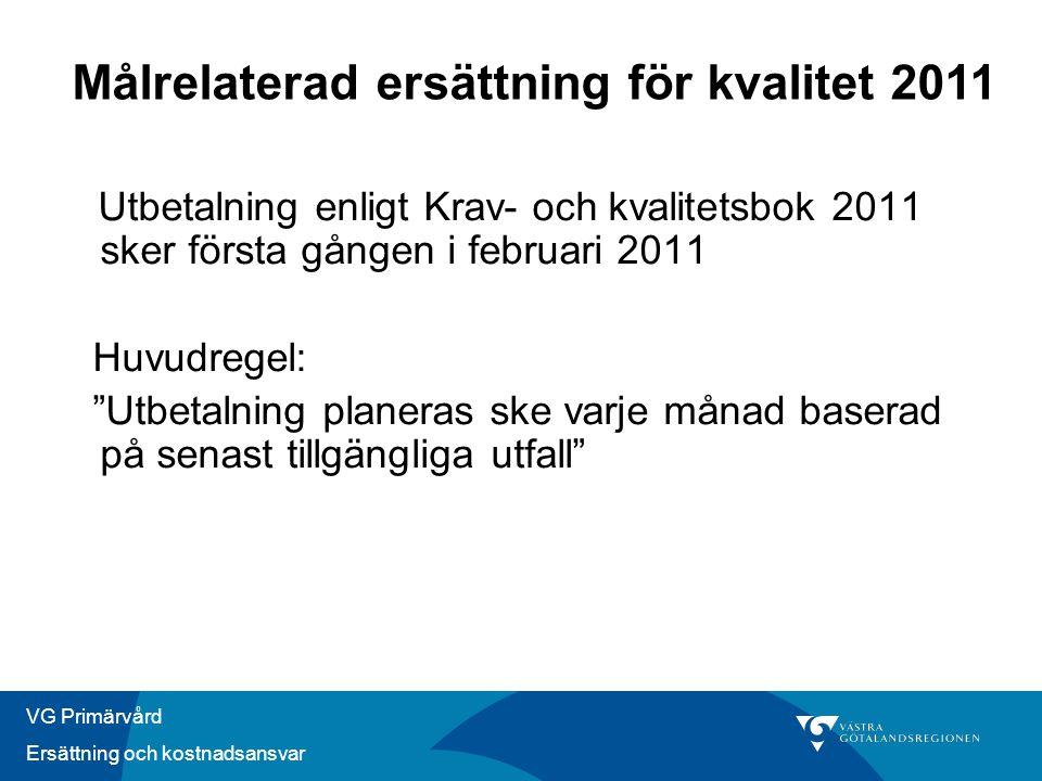 Målrelaterad ersättning för kvalitet 2011