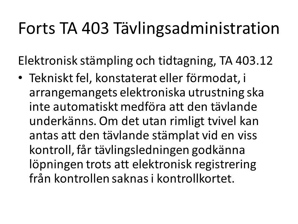 Forts TA 403 Tävlingsadministration