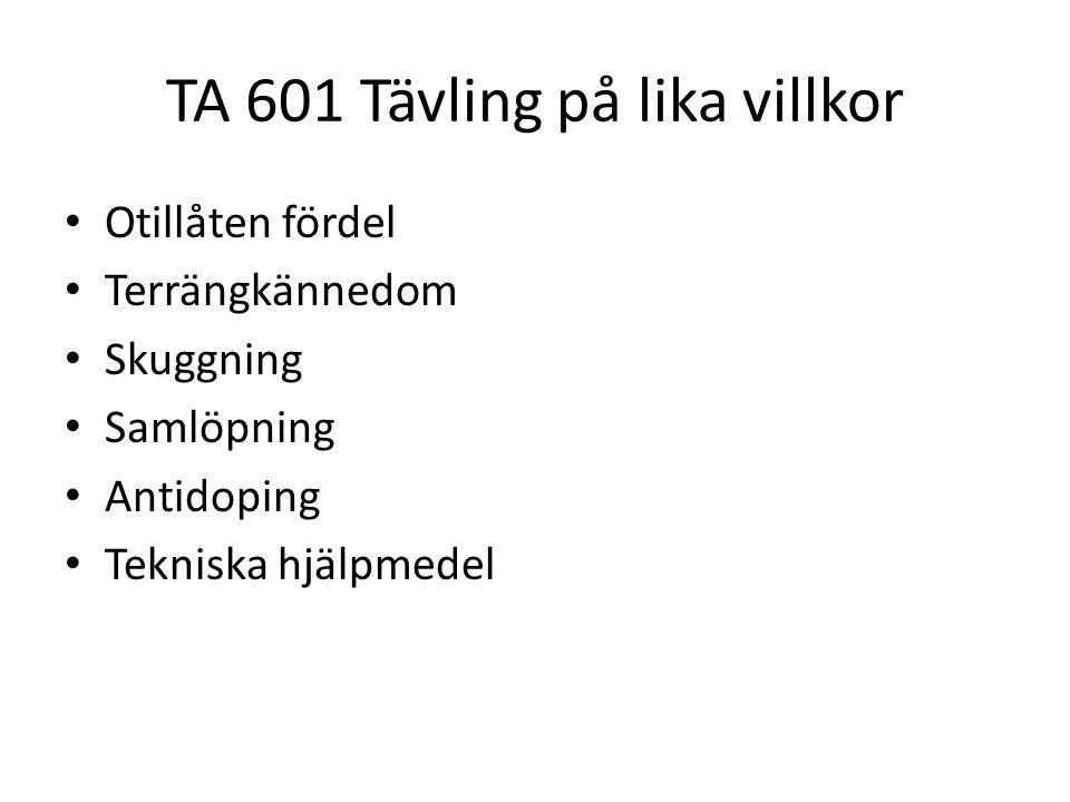 TA 601 Tävling på lika villkor