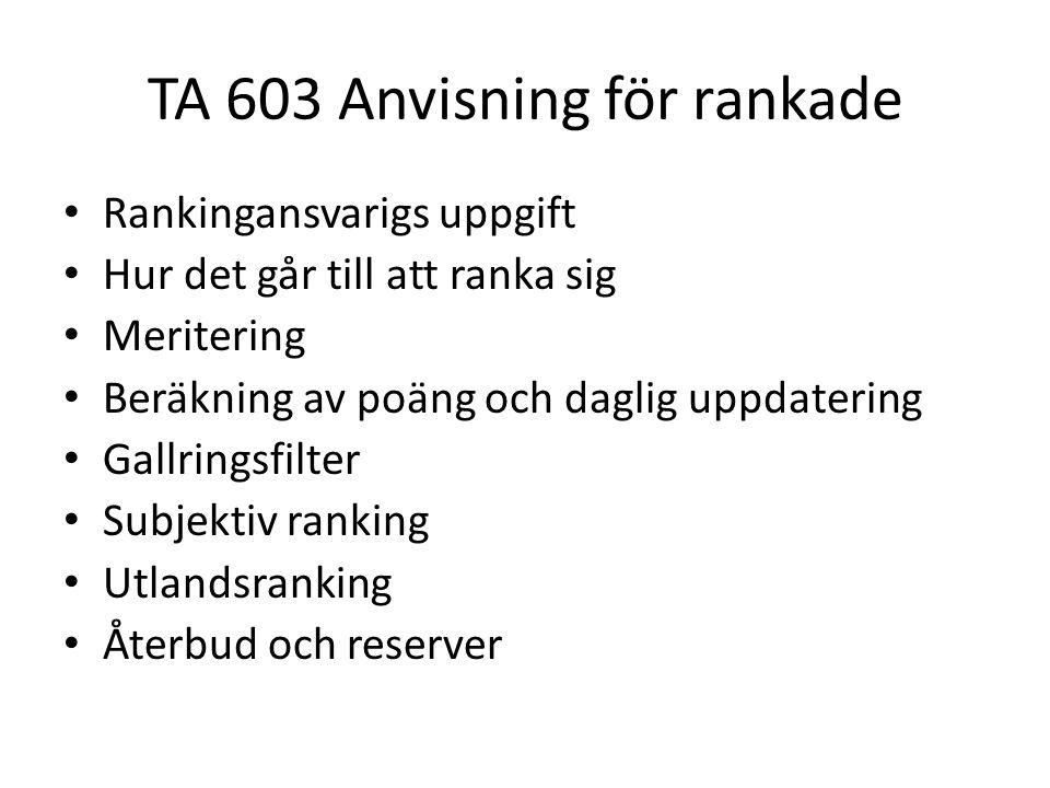 TA 603 Anvisning för rankade