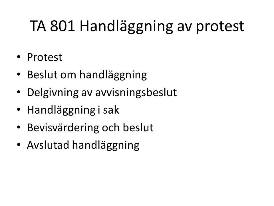 TA 801 Handläggning av protest