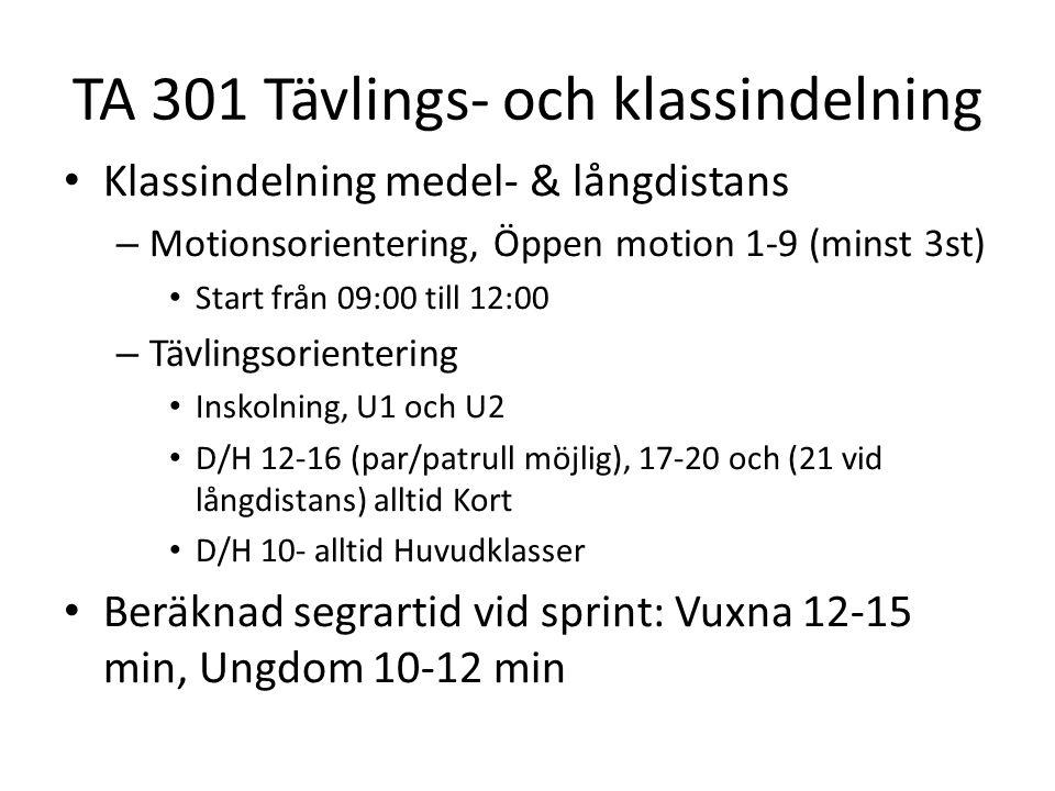TA 301 Tävlings- och klassindelning