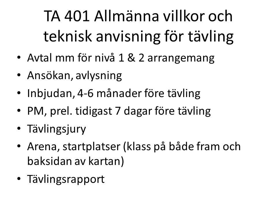 TA 401 Allmänna villkor och teknisk anvisning för tävling