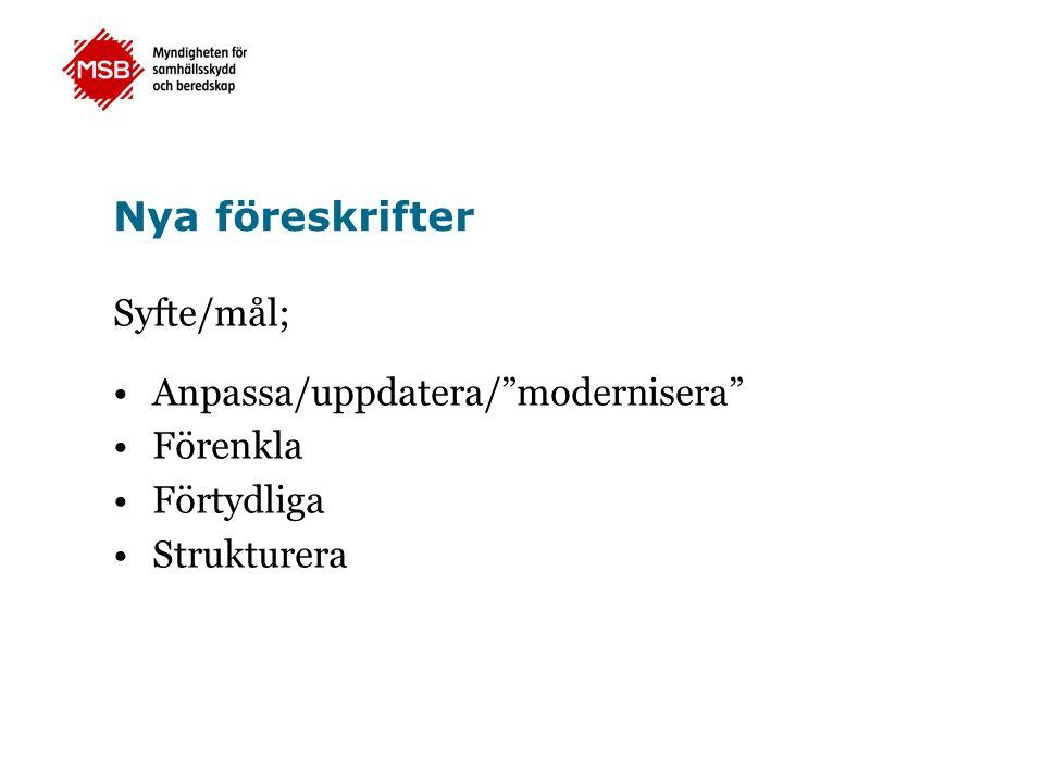 Nya föreskrifter Syfte/mål; Anpassa/uppdatera/ modernisera Förenkla