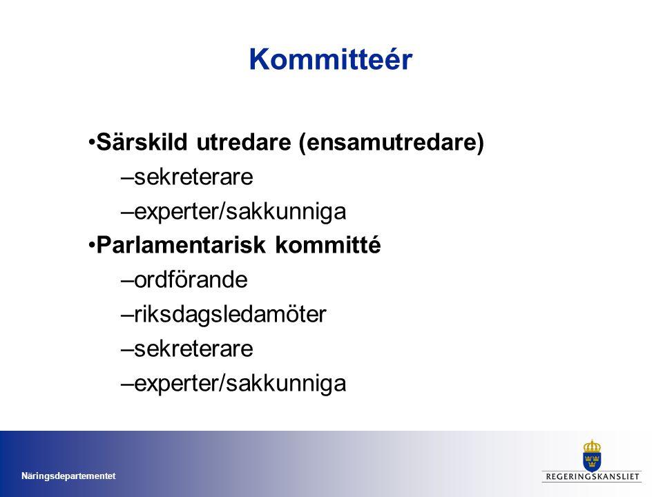 Kommitteér Särskild utredare (ensamutredare) sekreterare