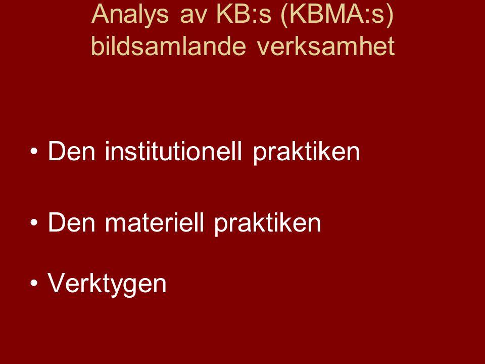 Analys av KB:s (KBMA:s) bildsamlande verksamhet
