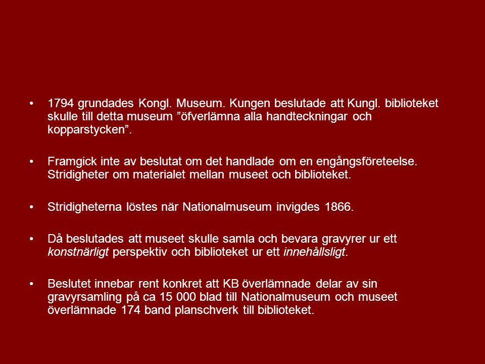 1794 grundades Kongl. Museum. Kungen beslutade att Kungl