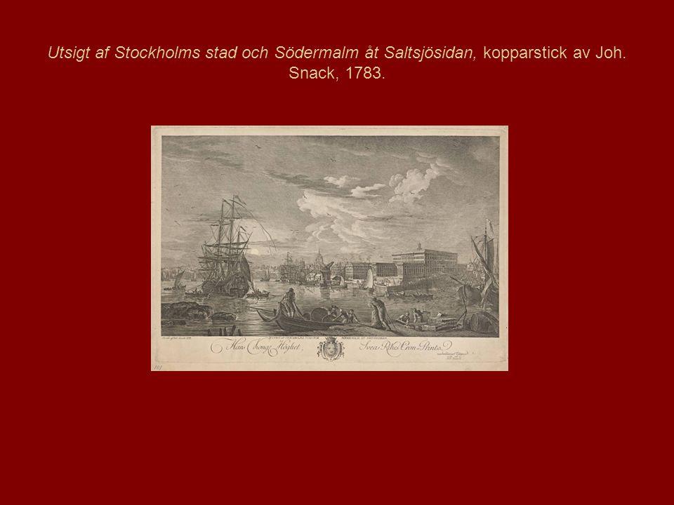Utsigt af Stockholms stad och Södermalm åt Saltsjösidan, kopparstick av Joh. Snack, 1783.