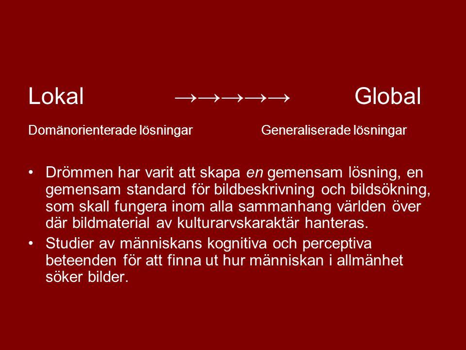 Lokal →→→→→ Global Domänorienterade lösningar Generaliserade lösningar.
