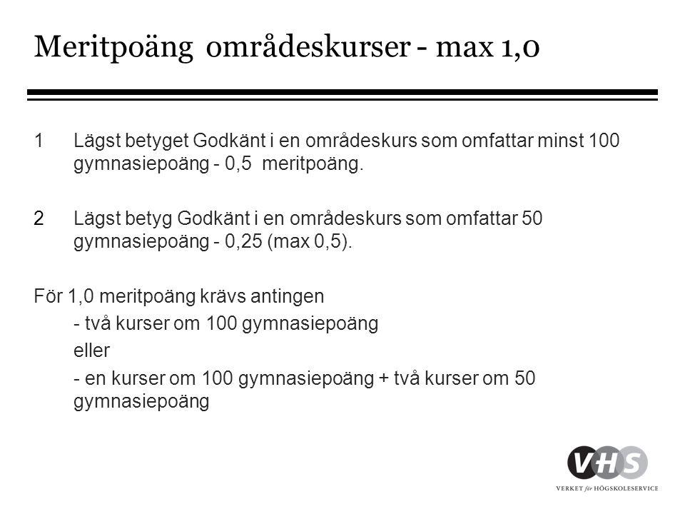 Meritpoäng områdeskurser - max 1,0