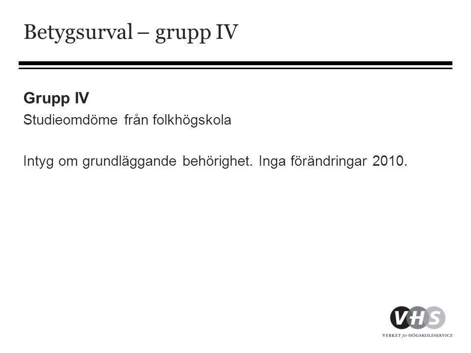 Betygsurval – grupp IV Grupp IV Studieomdöme från folkhögskola
