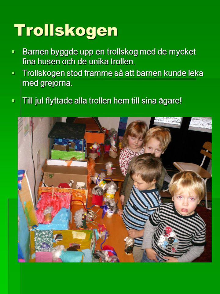 Trollskogen Barnen byggde upp en trollskog med de mycket fina husen och de unika trollen.