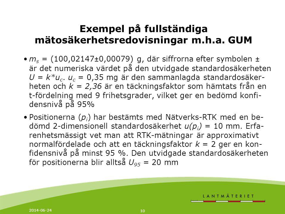 Exempel på fullständiga mätosäkerhetsredovisningar m.h.a. GUM