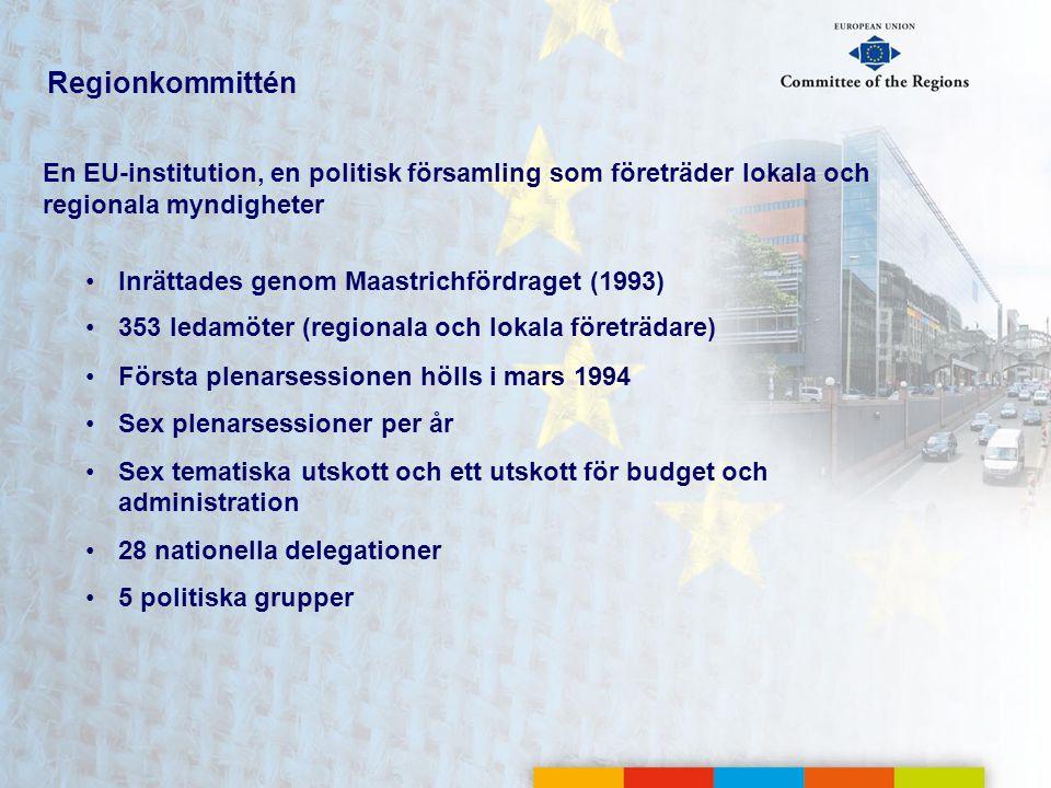 Regionkommittén En EU-institution, en politisk församling som företräder lokala och regionala myndigheter.