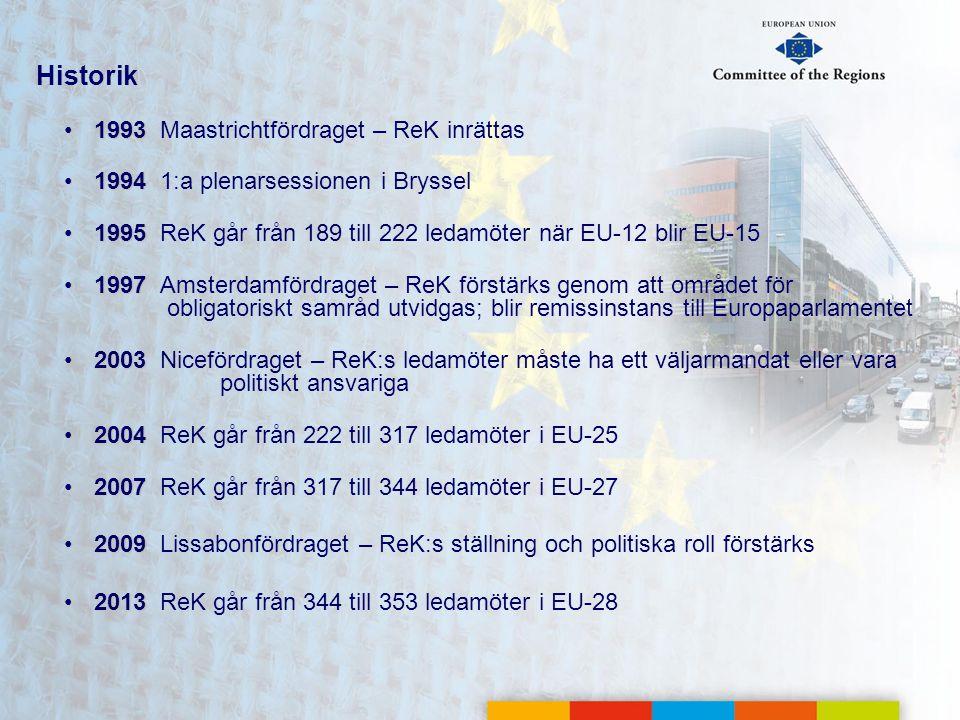 Historik 1993 Maastrichtfördraget – ReK inrättas