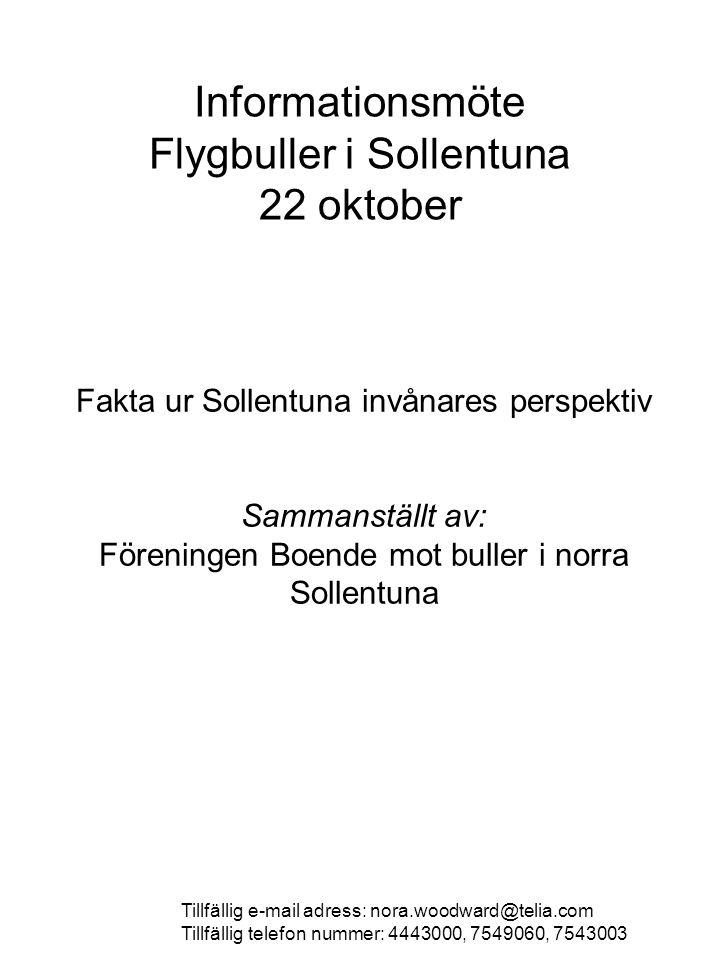 Informationsmöte Flygbuller i Sollentuna 22 oktober