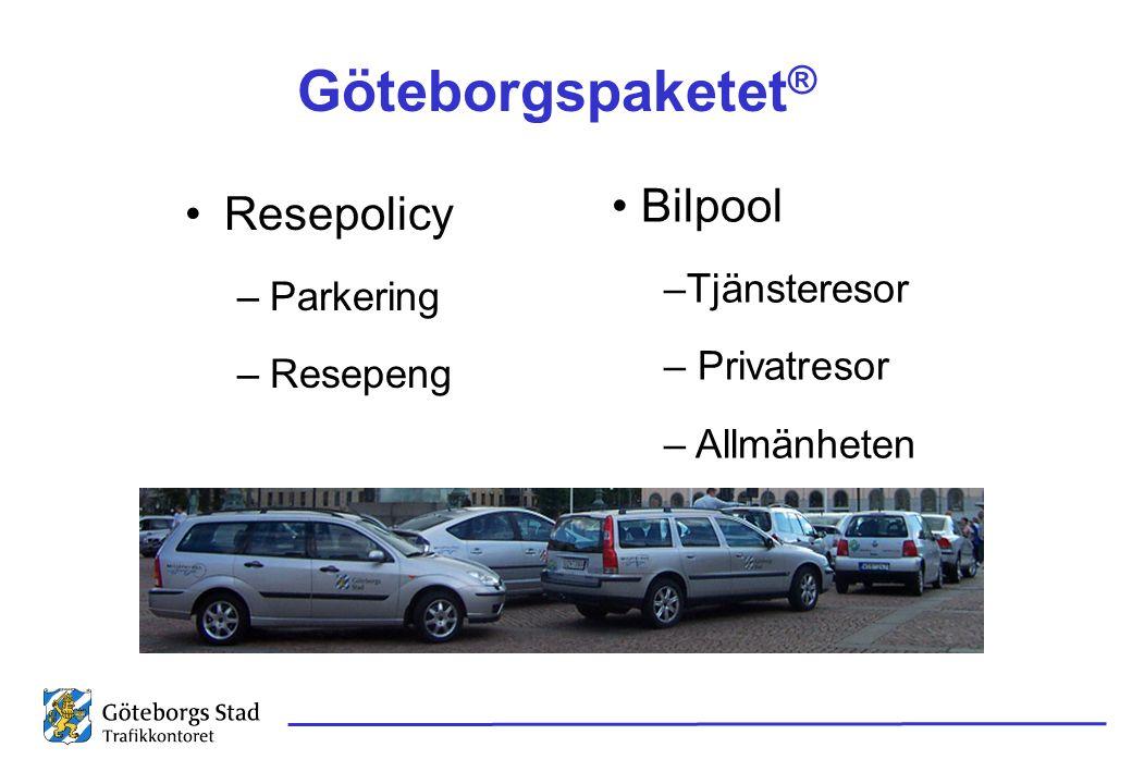 Göteborgspaketet® Bilpool Resepolicy Tjänsteresor Parkering