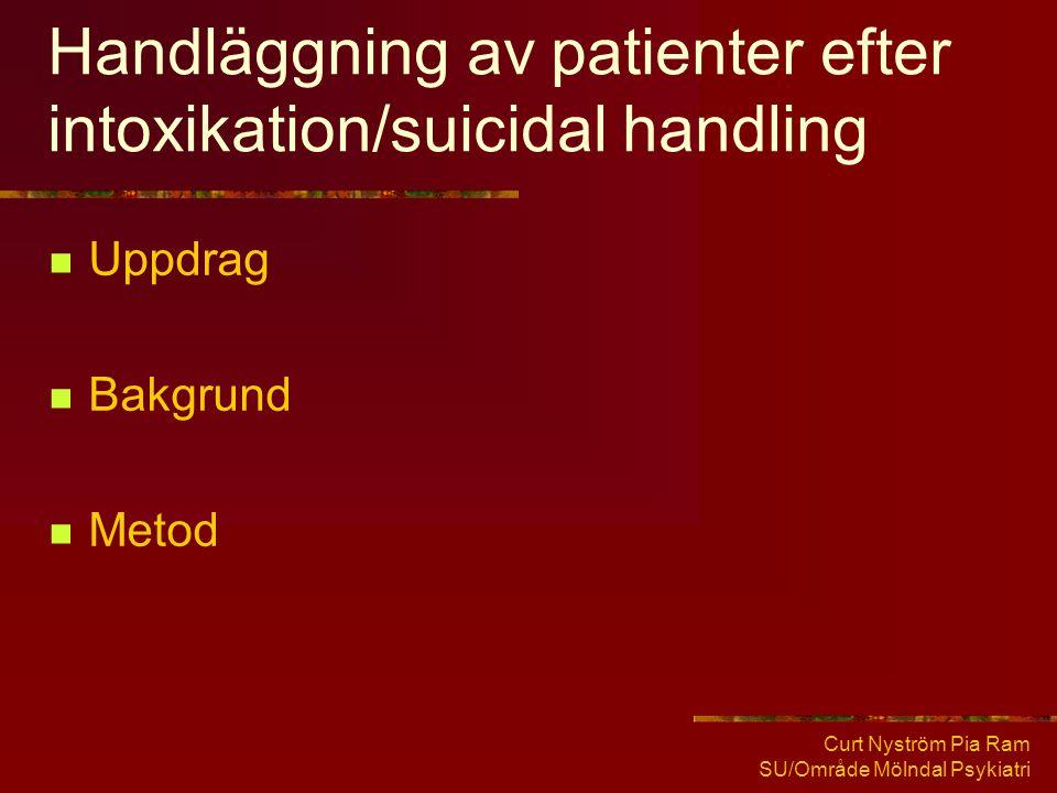 Handläggning av patienter efter intoxikation/suicidal handling