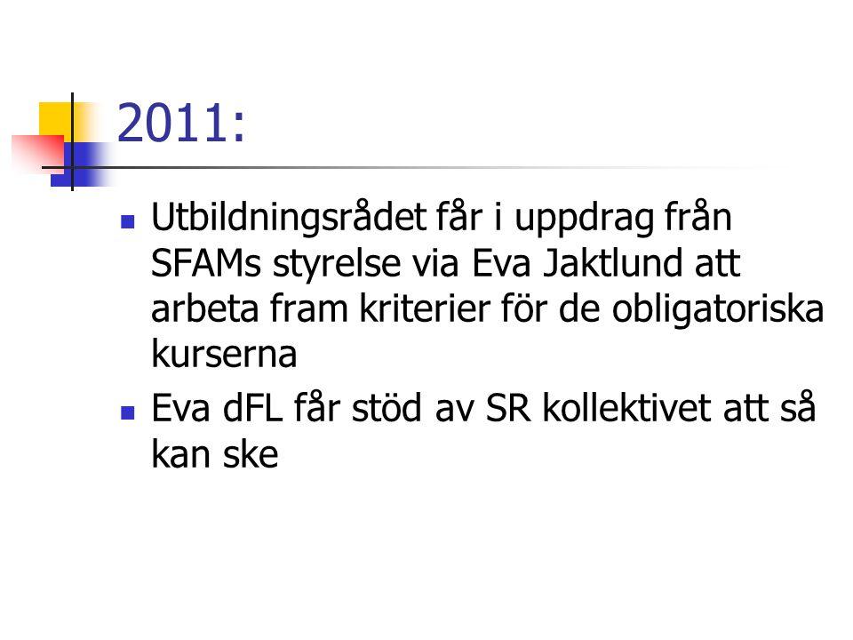 2011: Utbildningsrådet får i uppdrag från SFAMs styrelse via Eva Jaktlund att arbeta fram kriterier för de obligatoriska kurserna.