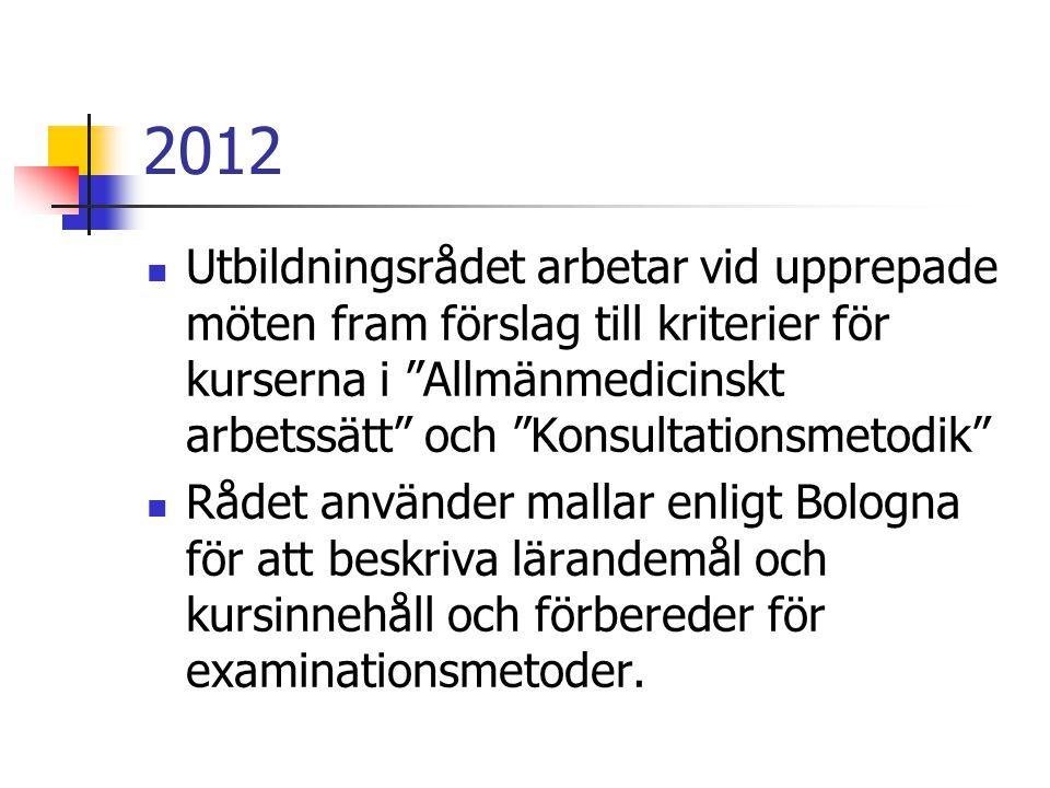 2012 Utbildningsrådet arbetar vid upprepade möten fram förslag till kriterier för kurserna i Allmänmedicinskt arbetssätt och Konsultationsmetodik