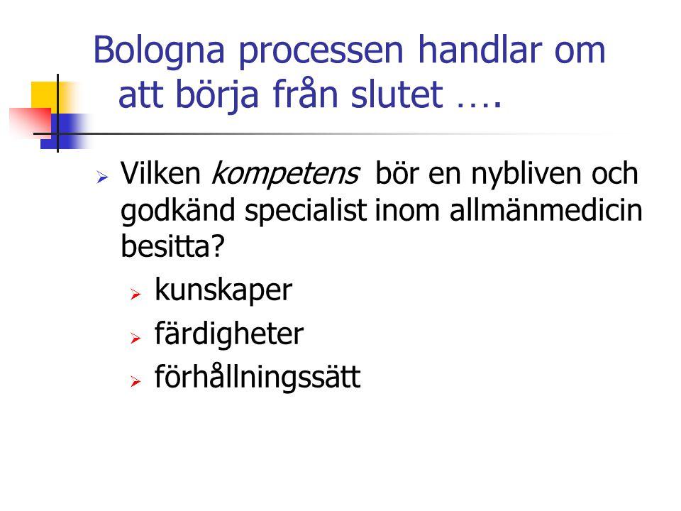Bologna processen handlar om att börja från slutet ….