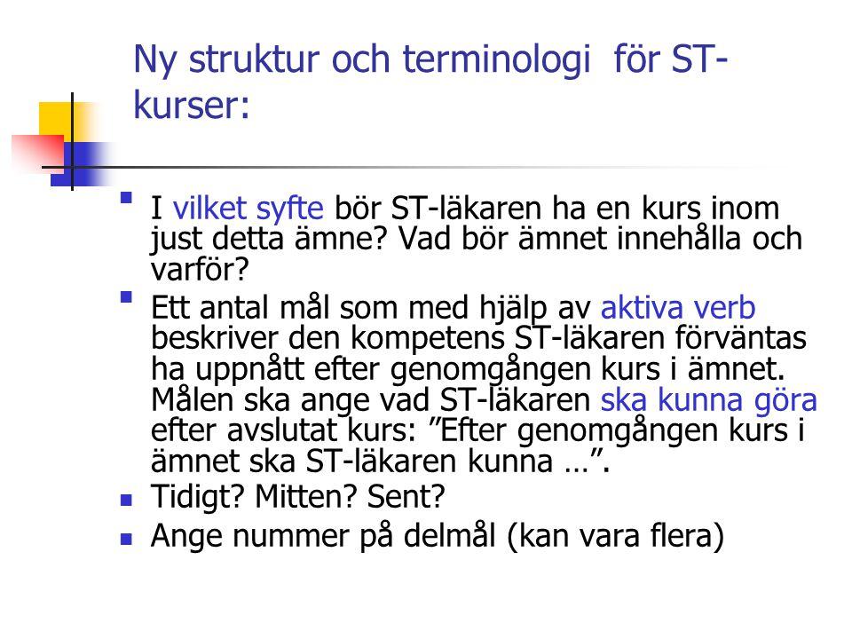 Ny struktur och terminologi för ST-kurser: