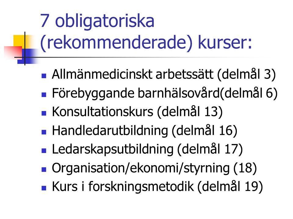 7 obligatoriska (rekommenderade) kurser: