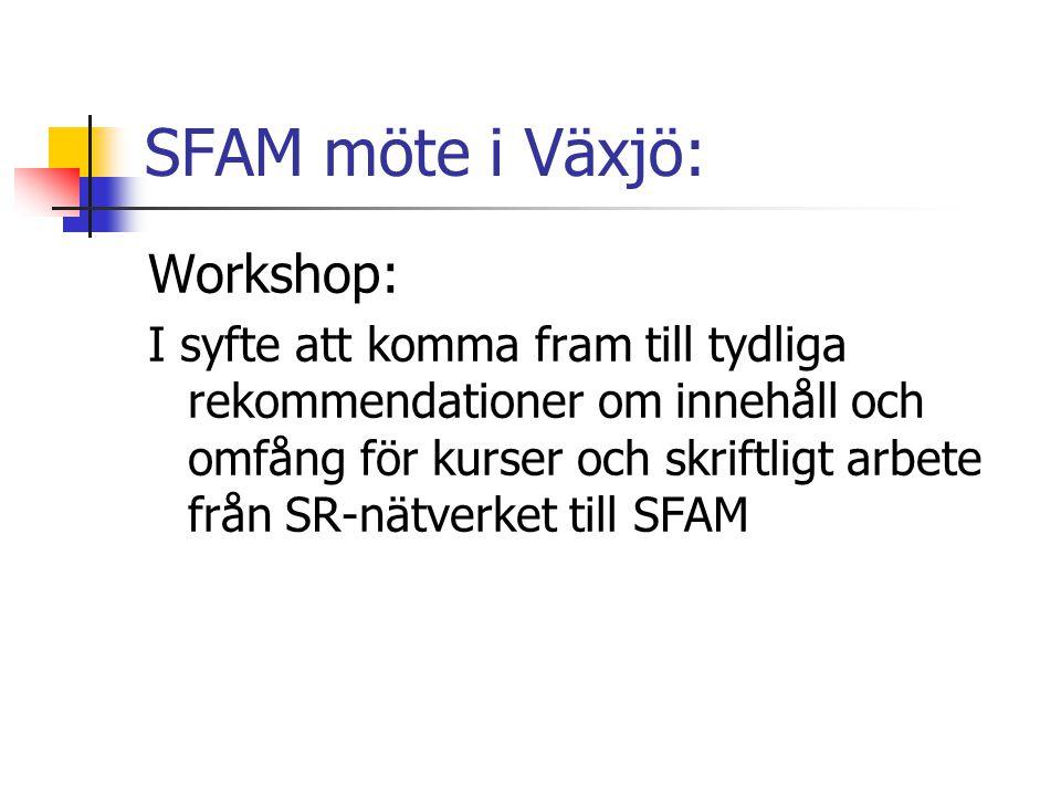 SFAM möte i Växjö: Workshop: