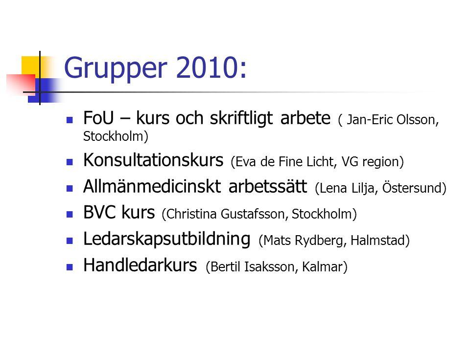 Grupper 2010: FoU – kurs och skriftligt arbete ( Jan-Eric Olsson, Stockholm) Konsultationskurs (Eva de Fine Licht, VG region)