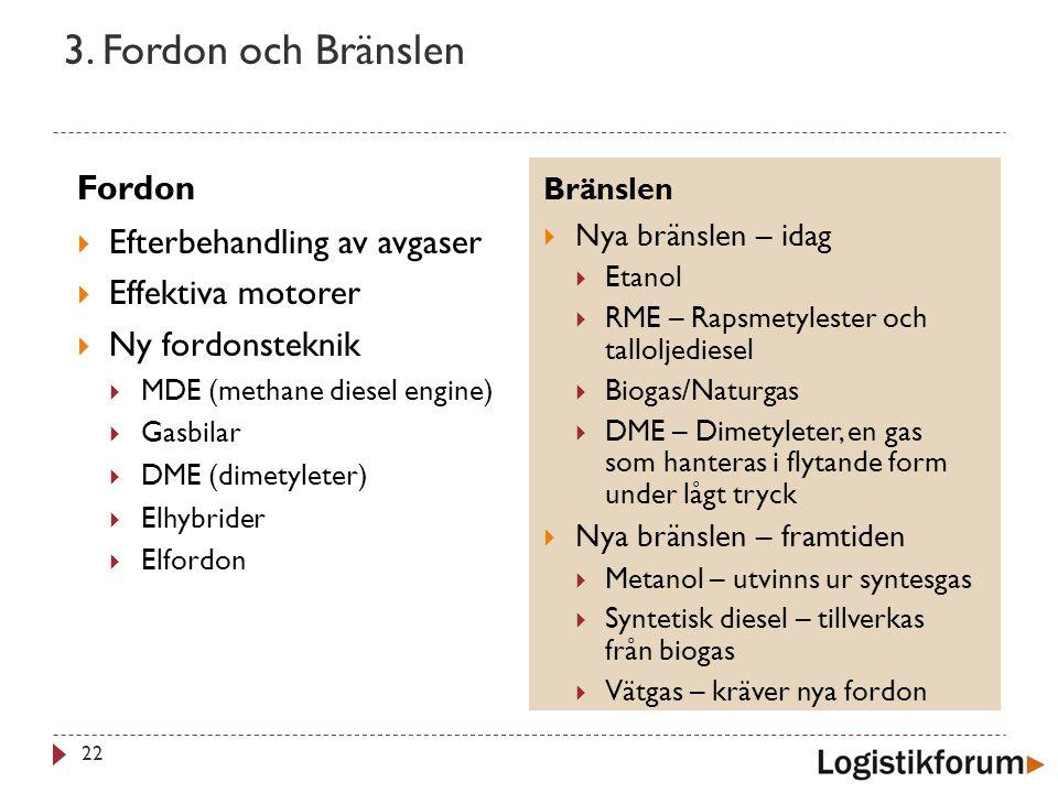 3. Fordon och Bränslen Fordon Efterbehandling av avgaser