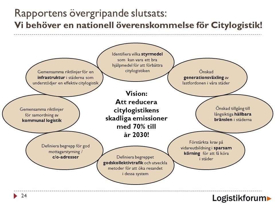 Att reducera citylogistikens skadliga emissioner med 70% till