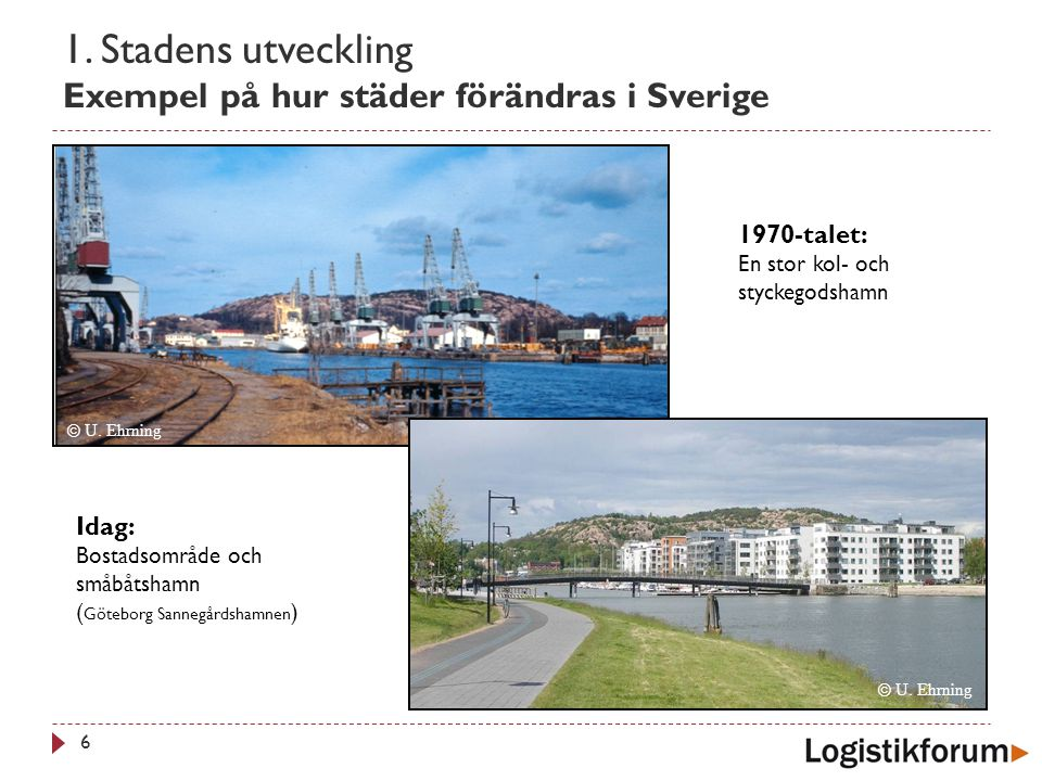 1. Stadens utveckling Exempel på hur städer förändras i Sverige