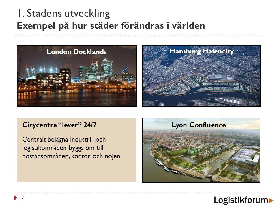 1. Stadens utveckling Exempel på hur städer förändras i världen