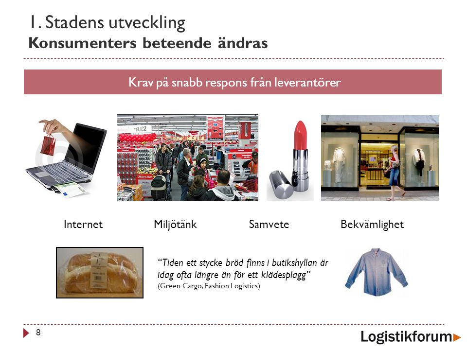 1. Stadens utveckling Konsumenters beteende ändras