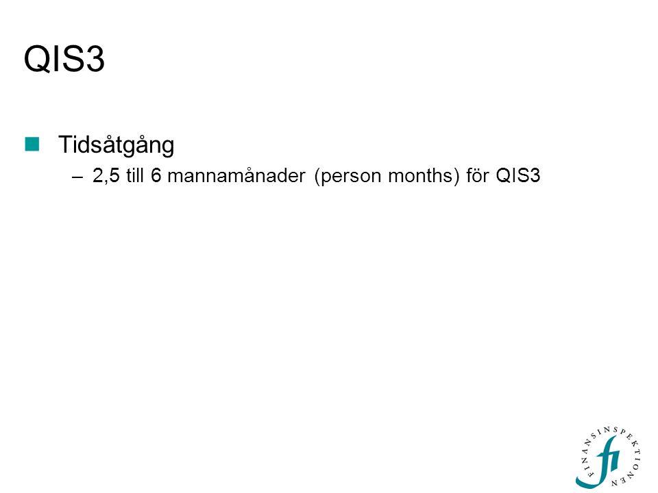 QIS3 Tidsåtgång 2,5 till 6 mannamånader (person months) för QIS3