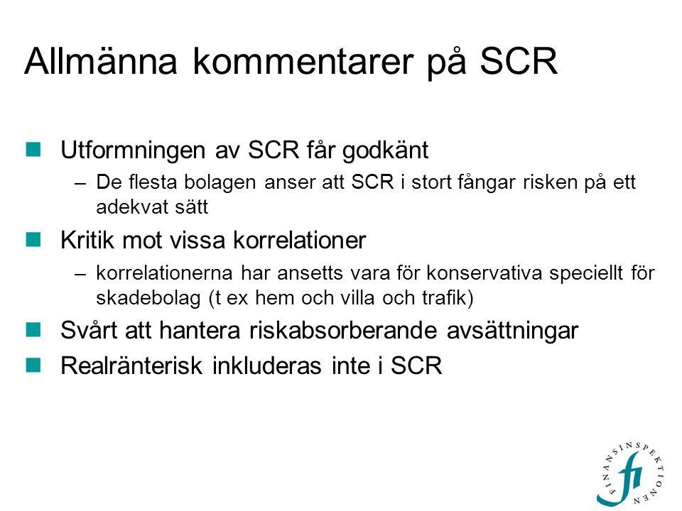 Allmänna kommentarer på SCR