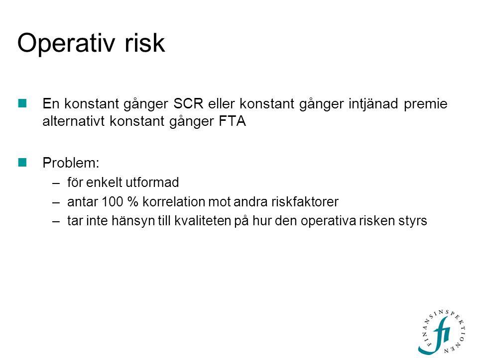Operativ risk En konstant gånger SCR eller konstant gånger intjänad premie alternativt konstant gånger FTA.