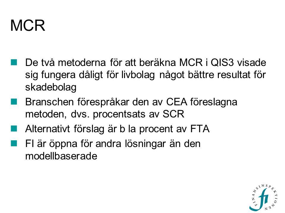 MCR De två metoderna för att beräkna MCR i QIS3 visade sig fungera dåligt för livbolag något bättre resultat för skadebolag.