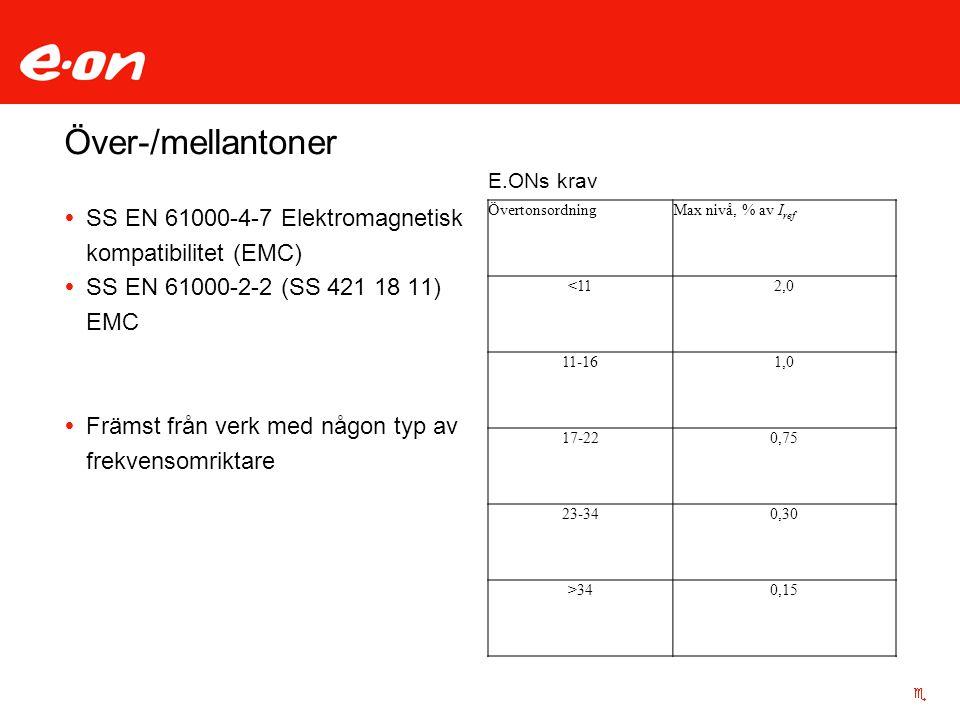 Över-/mellantoner E.ONs krav. SS EN 61000-4-7 Elektromagnetisk kompatibilitet (EMC) SS EN 61000-2-2 (SS 421 18 11) EMC.