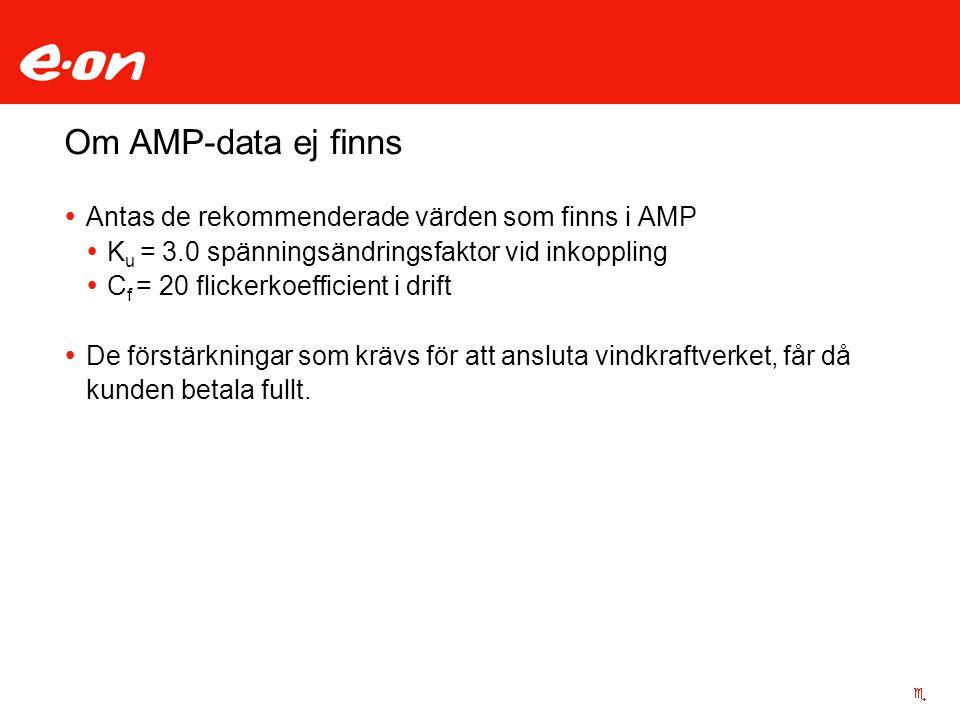 Om AMP-data ej finns Antas de rekommenderade värden som finns i AMP