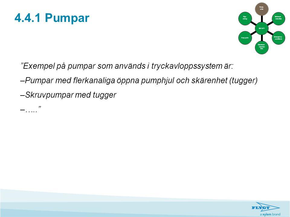 4.4.1 Pumpar Exempel på pumpar som används i tryckavloppssystem är: