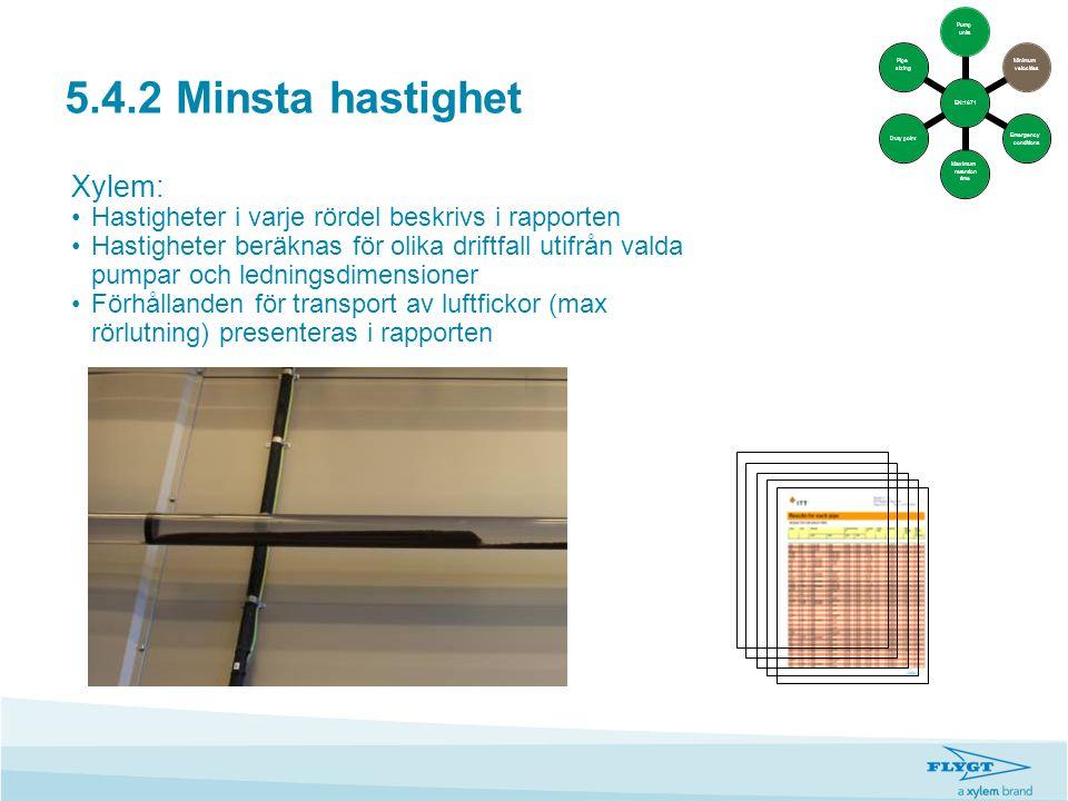 5.4.2 Minsta hastighet Xylem: