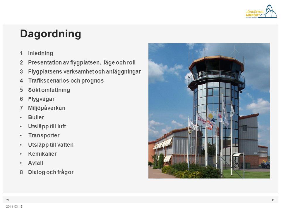 Dagordning 1 Inledning Presentation av flygplatsen, läge och roll