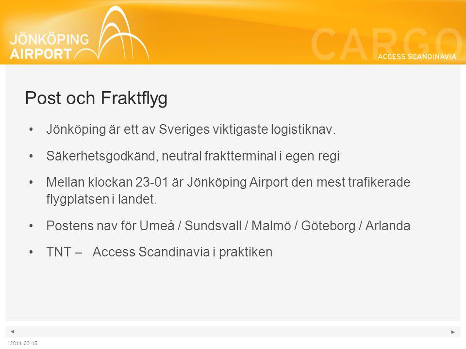 Post och Fraktflyg Jönköping är ett av Sveriges viktigaste logistiknav. Säkerhetsgodkänd, neutral fraktterminal i egen regi.