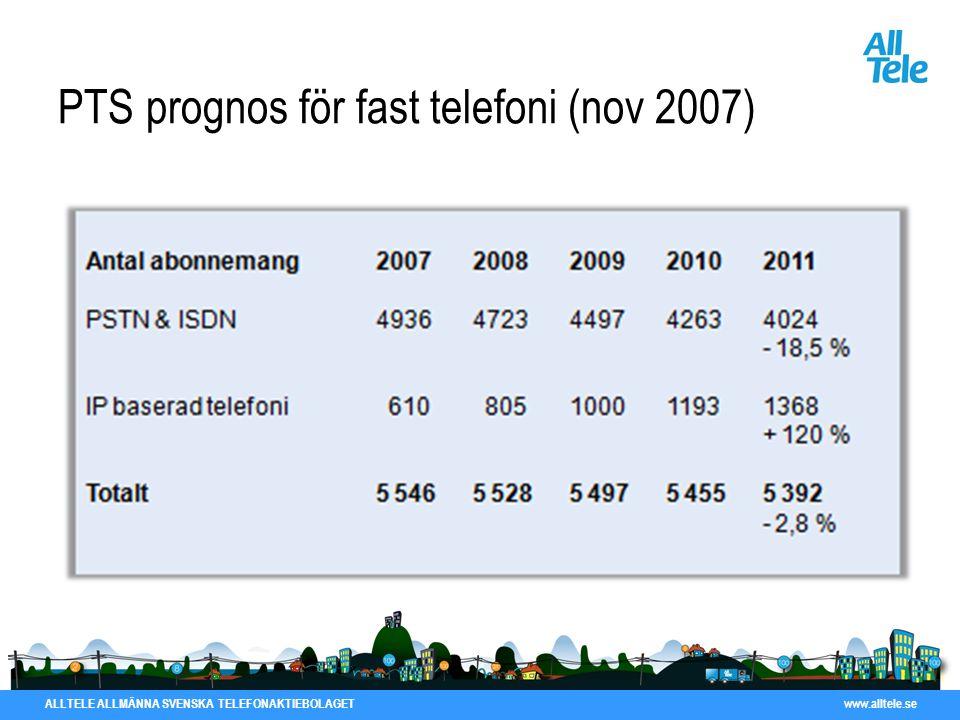 PTS prognos för fast telefoni (nov 2007)