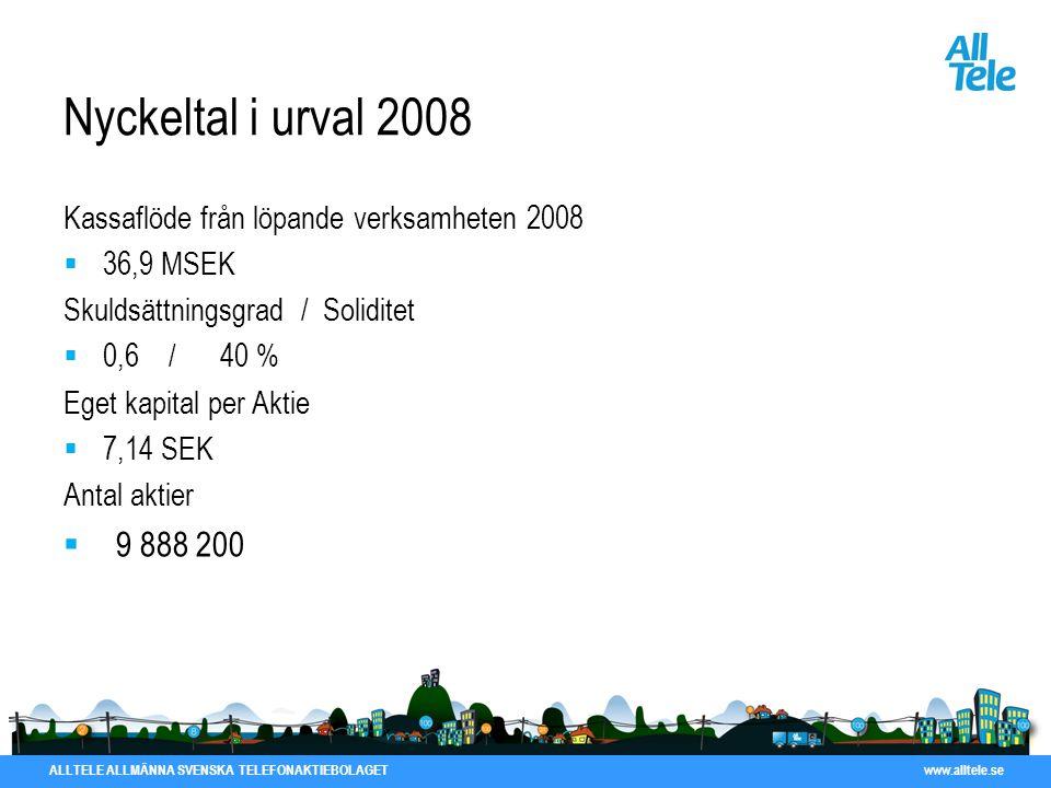 Nyckeltal i urval 2008 Kassaflöde från löpande verksamheten 2008. 36,9 MSEK. Skuldsättningsgrad / Soliditet.