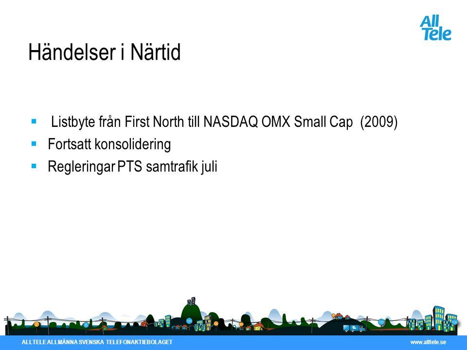 Händelser i Närtid Listbyte från First North till NASDAQ OMX Small Cap (2009) Fortsatt konsolidering.